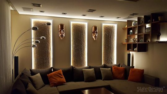 Tiszaújvárosi családi ház - átvilágítható és megvilágított kamenné obklady